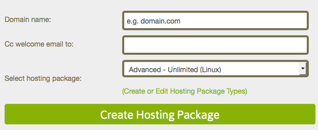 Hosting package configuration