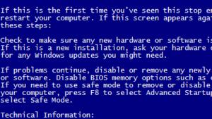 ブルースクリーンエラーの頻発が解消。ntoskrnlエラーはメモリー関連が原因かも。